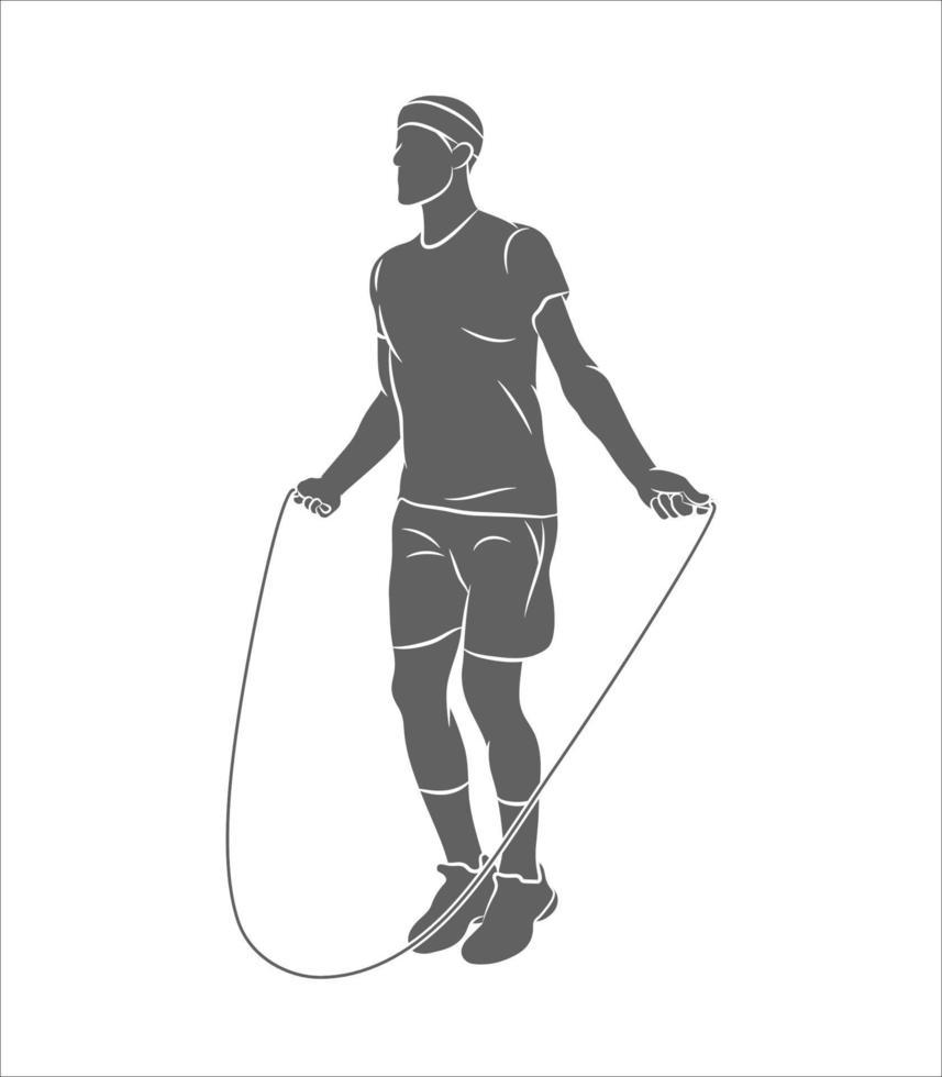 silhuett ung idrottsman hopprep på en vit bakgrund. vektor illustration