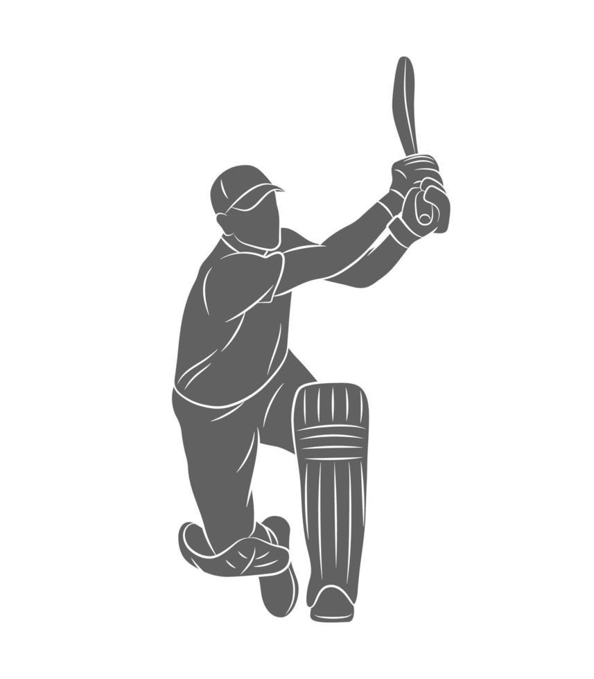 Silhouette Schlagmann, der Cricket auf einem weißen Hintergrund spielt. Vektorillustration vektor