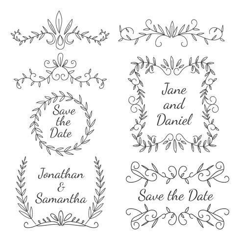 Hochzeits-Element-Blumenverzierung vektor
