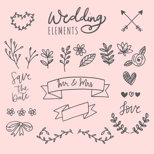 Handgezeichnete Hochzeitselemente vektor
