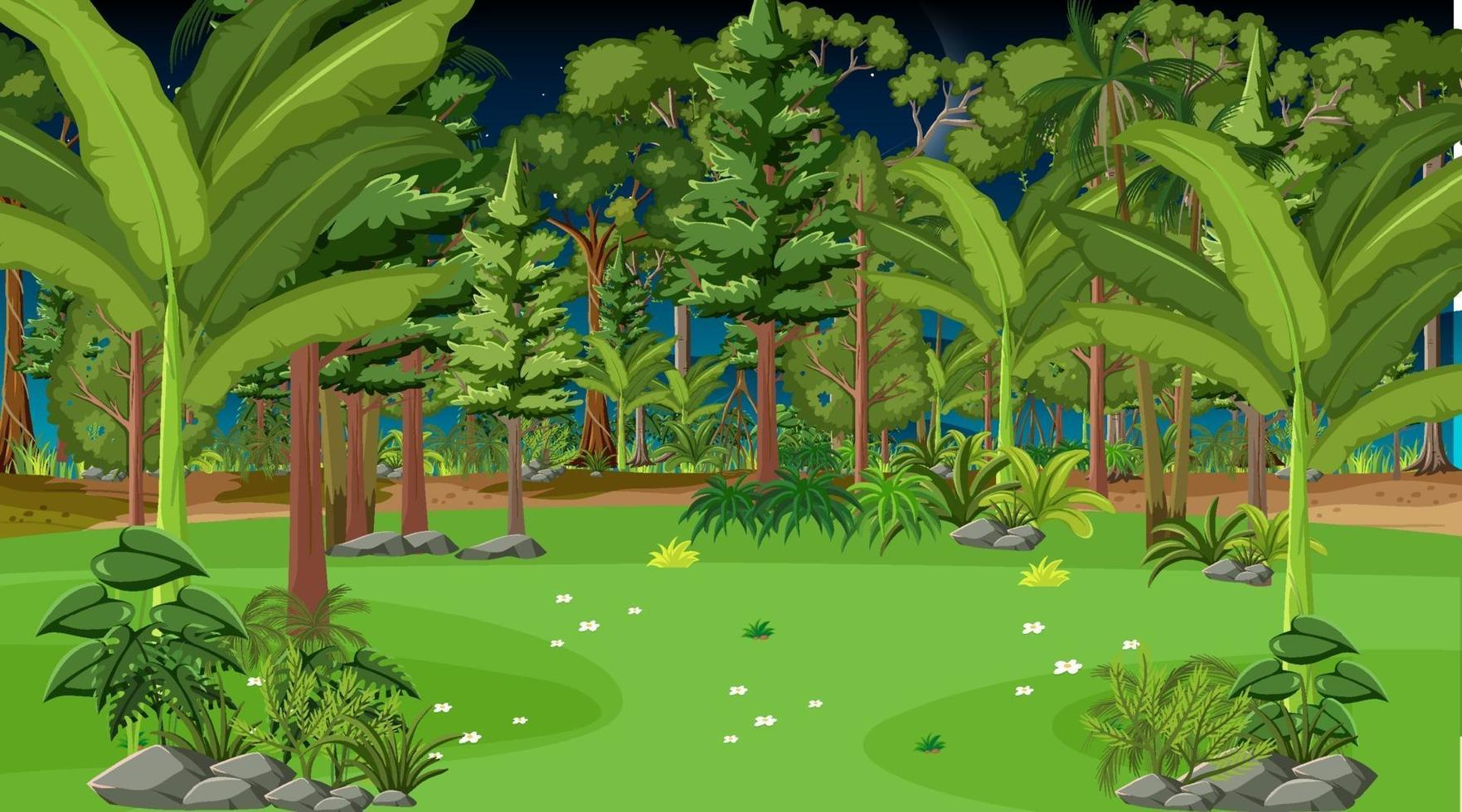 skog landskap scen på natten vektor