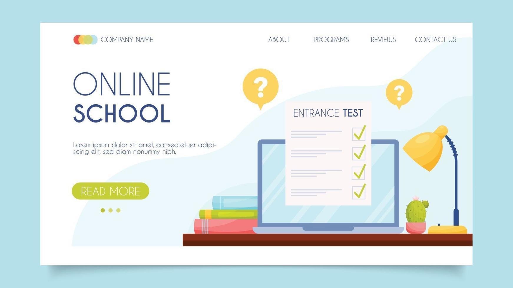 online-skola. målsidakoncept. platt design, vektorillustration. vektor