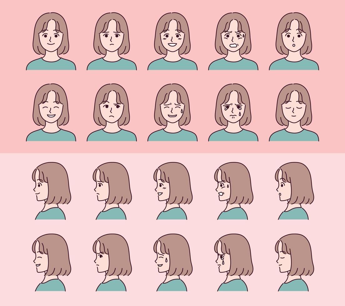 uppsättning ansikte flicka karaktärer med olika känslor uttryck. vektor