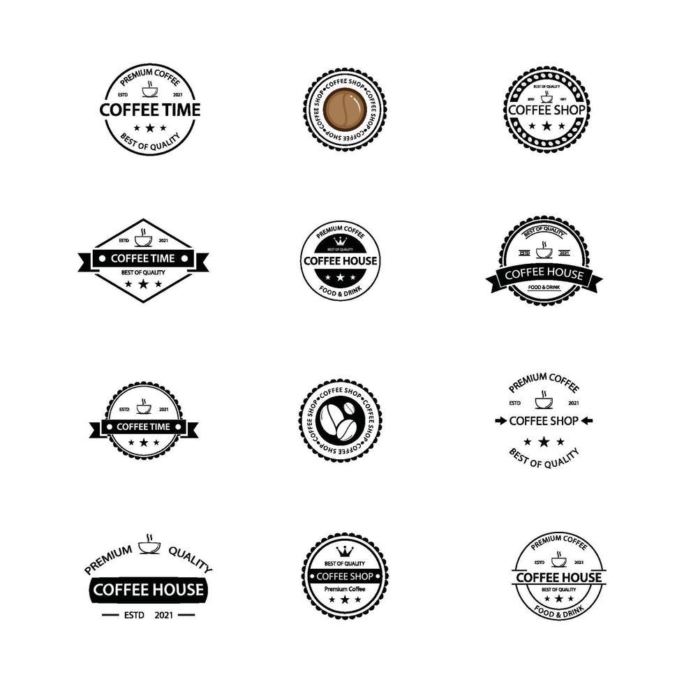 kaffe vintage logotyp ikon pack vektor