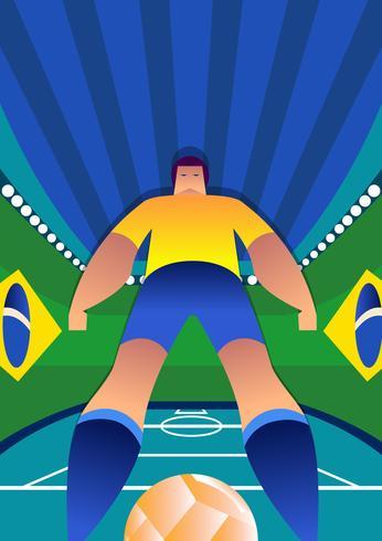 Brasilien VM Fotbollsspelare Stående Poses vektor