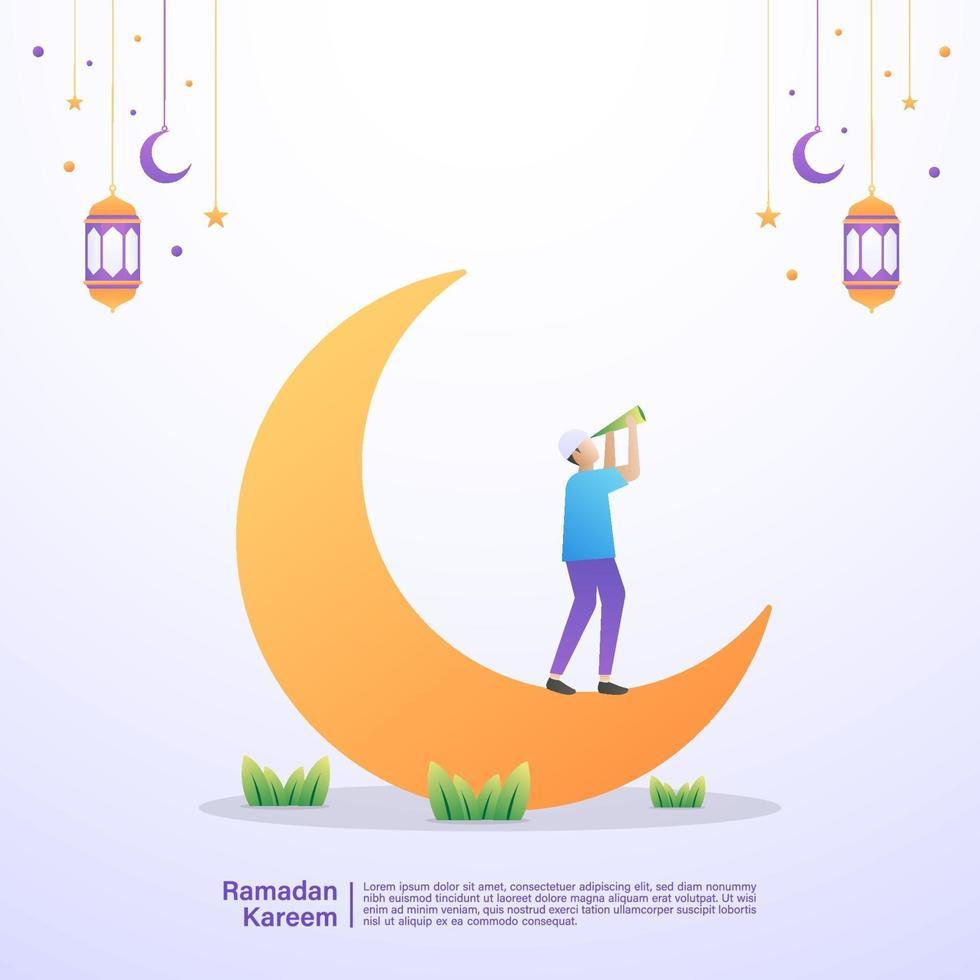 en muslim tittar på månen och väntar på iftar-tid. illustration koncept av ramadan kareem vektor