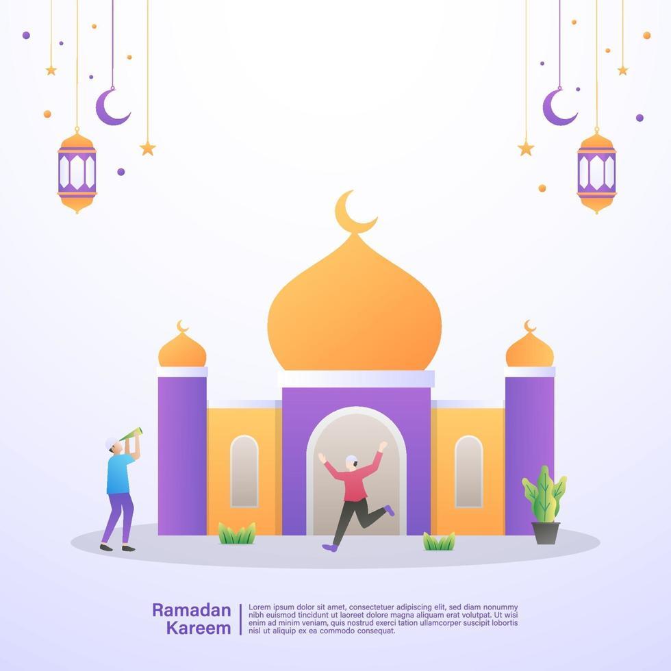 Muslime freuen sich, den Monat Ramadan in einer Moschee begrüßen zu dürfen. Illustrationskonzept des Ramadan Kareem vektor