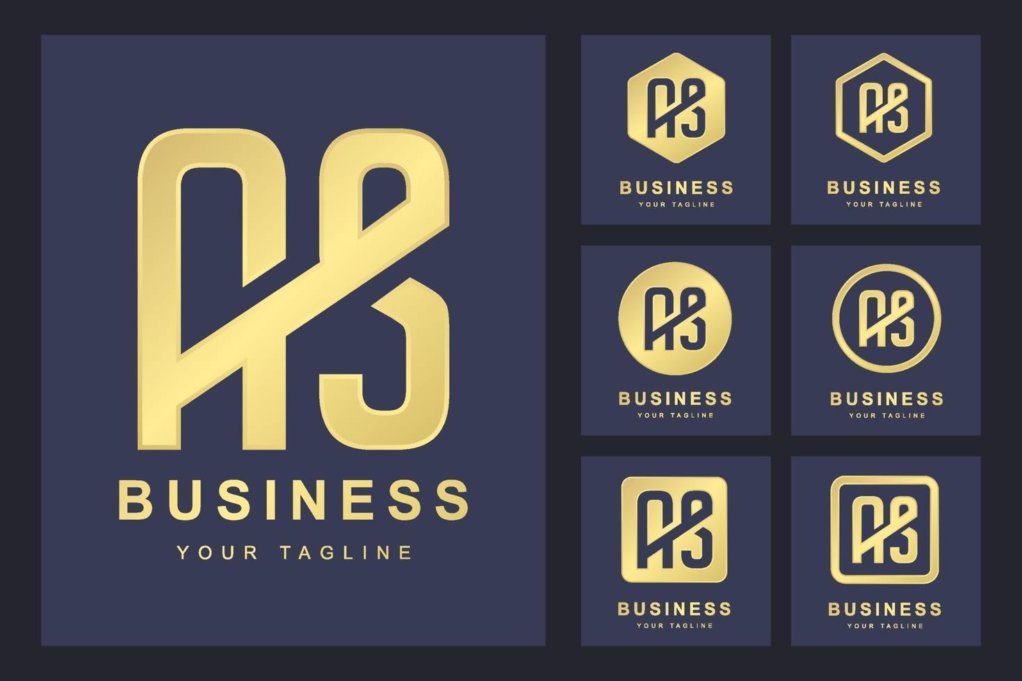 uppsättning abstrakt första bokstaven som, gyllene logotyp mall. logotyp för företag, personlig, organisation. vektor