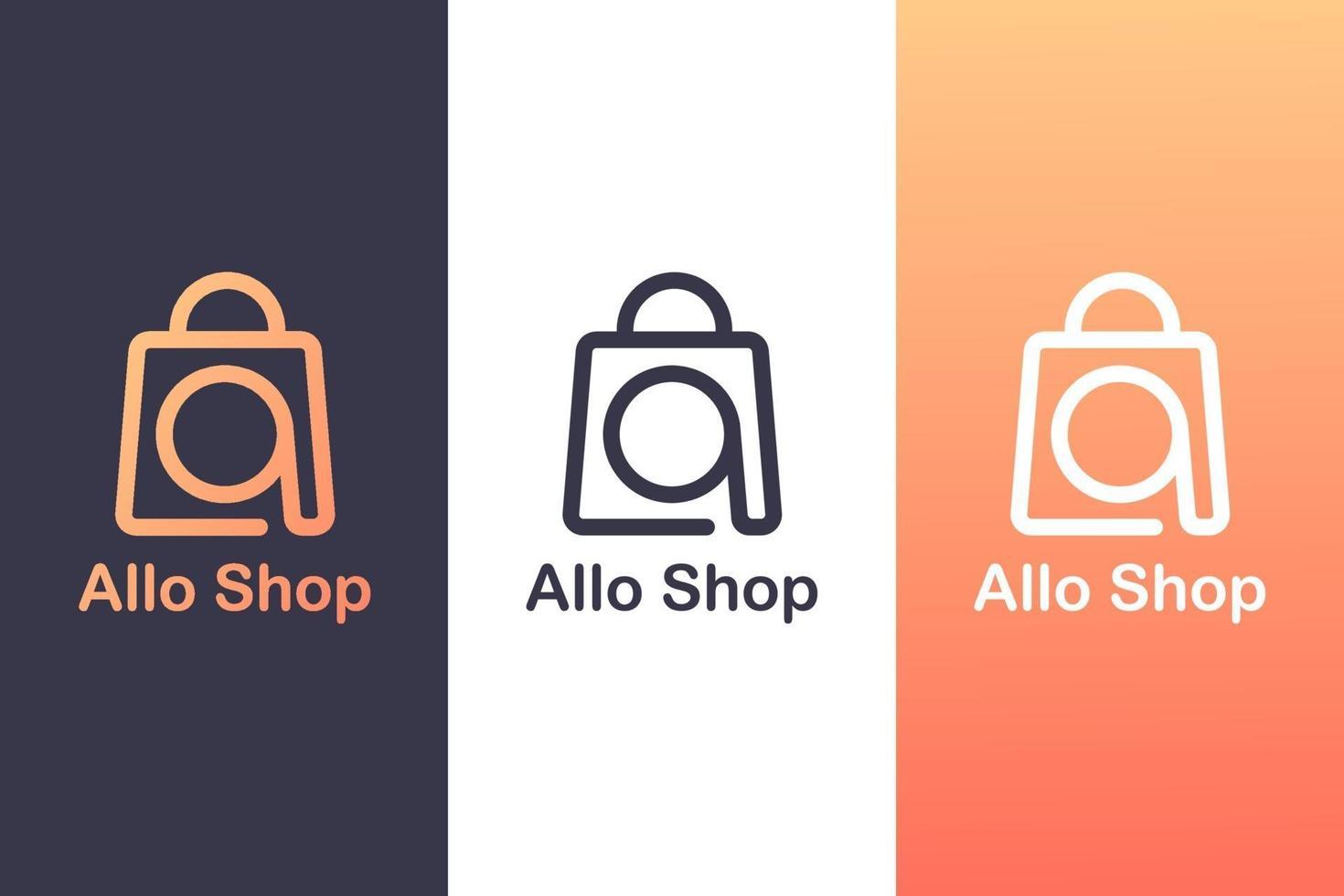 kombinera bokstaven en logotyp med en shoppingväska, begreppet en shoppinglogotyp. vektor