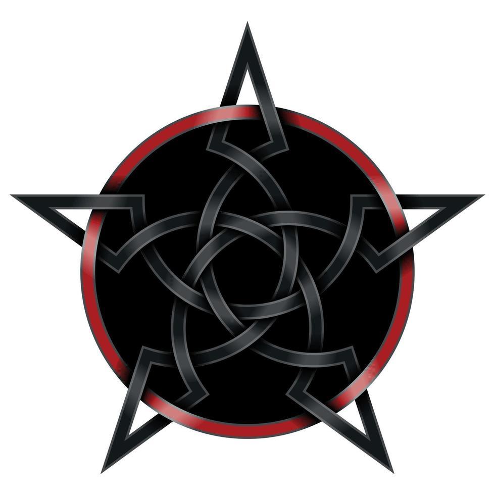 ineinandergreifendes Sternendesign im keltischen Schwarz-Rot-Stil vektor