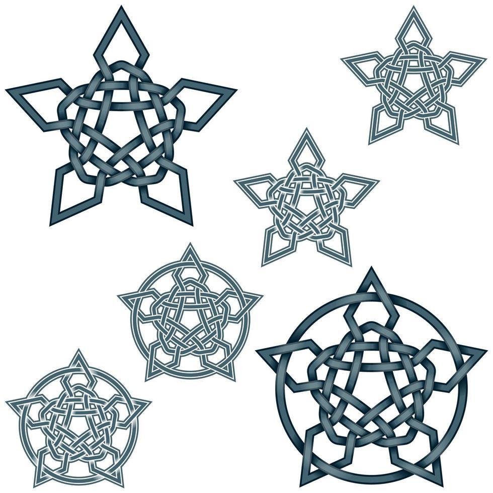 ineinandergreifende Sterne Design im keltischen Stil vektor