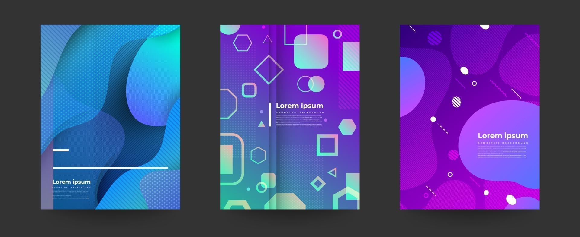 uppsättning färgglada abstrakta geometriska bakgrunder vektor