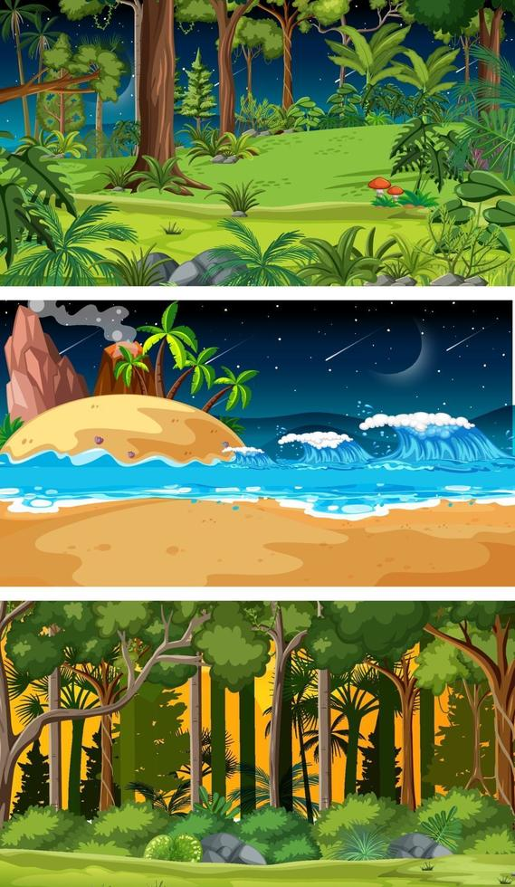 tre olika natur horisontella scener vektor