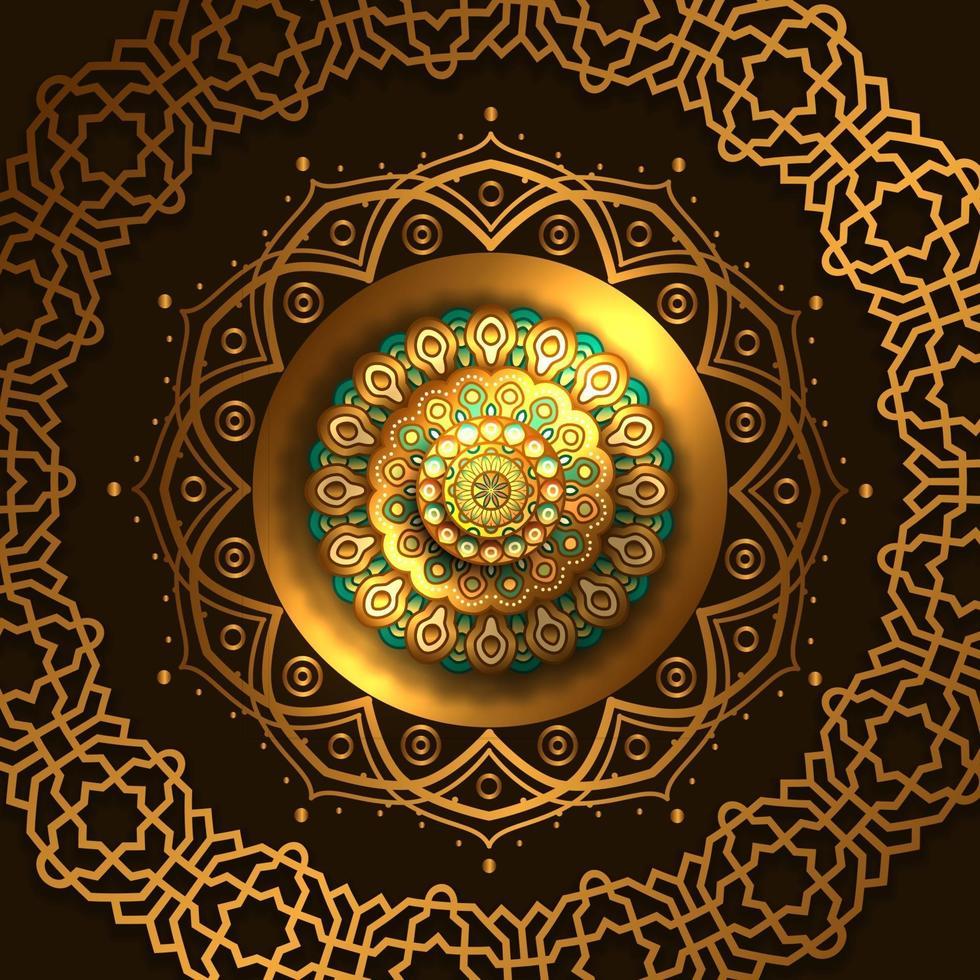 gyllene lyx elegant mandala cirkel runt mönster dekoration vektor