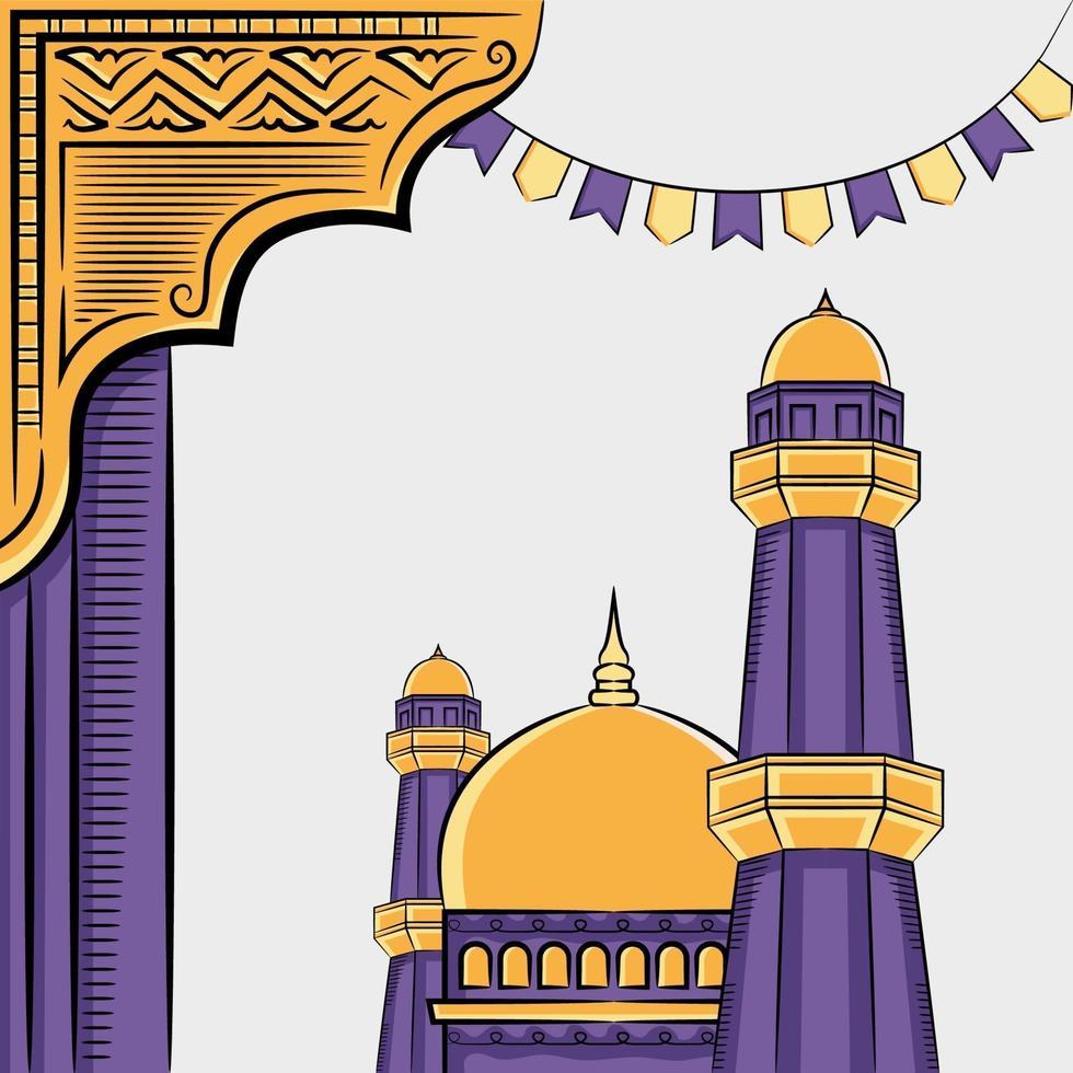 handritad illustration av ramadan kareem eller eid al fitr dagar hälsning koncept på vit bakgrund. vektor
