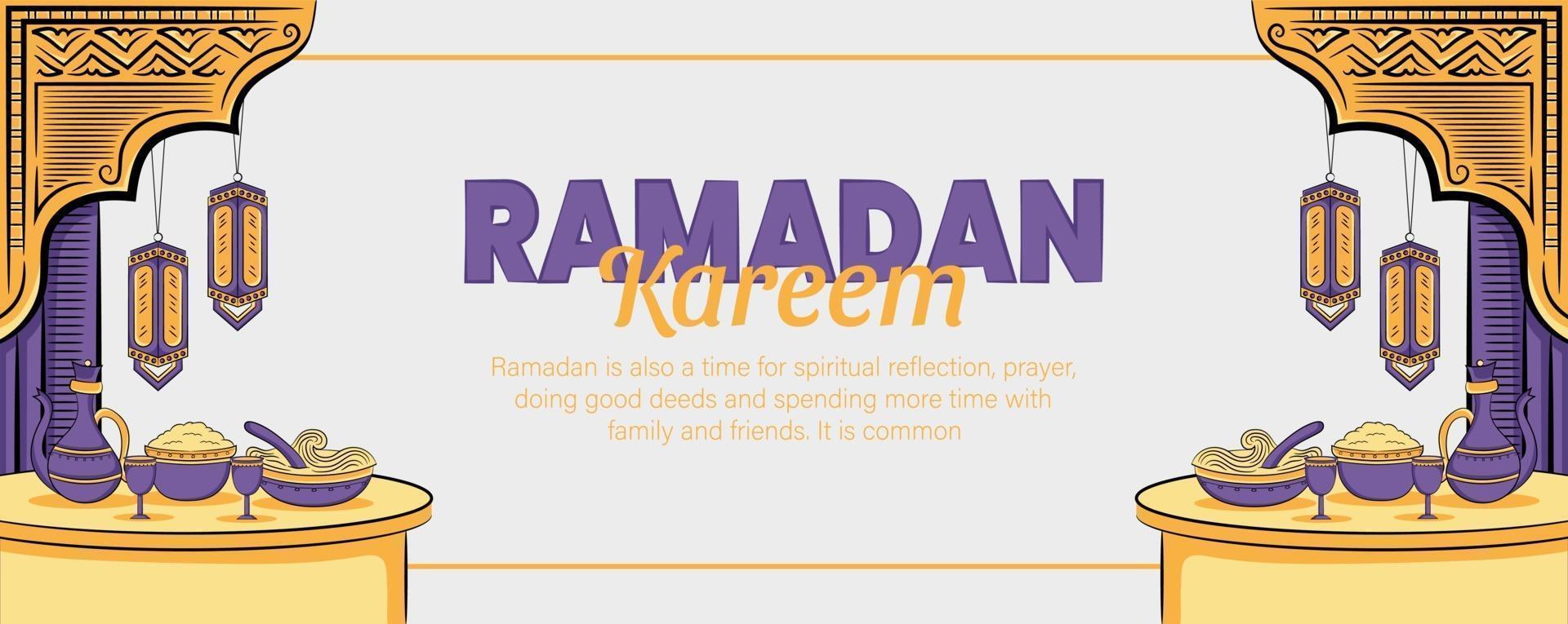 Ramadan Kareem Banner mit handgezeichneten islamischen Illustration vektor