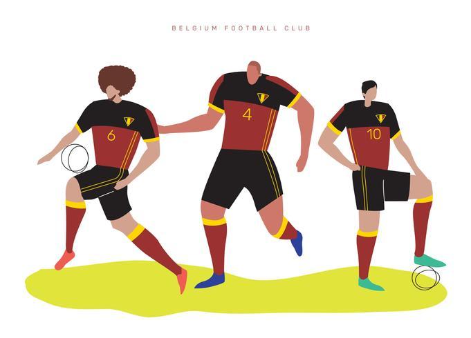 Belgien VM Fotbollsspelare Falt Vektor Karaktär Illustration