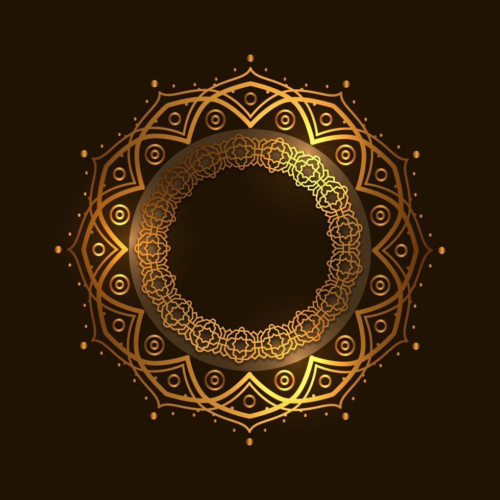 gyllene cirkeln runt mandala mönster arabisk moské, lyx och elegant vektor