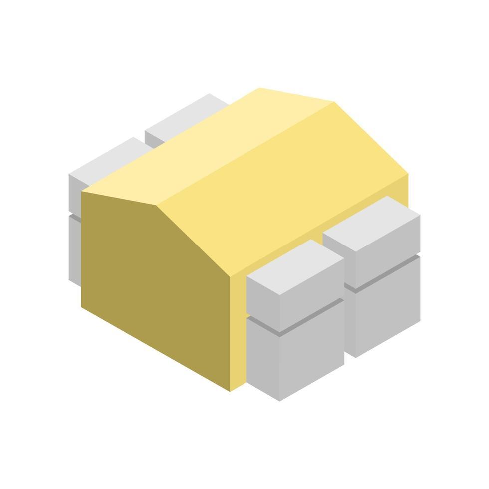 isometrisk byggnad på vit bakgrund vektor
