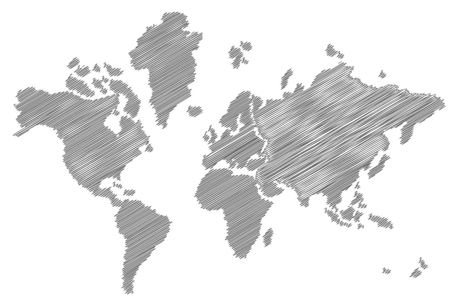 skissa världskartan vektor