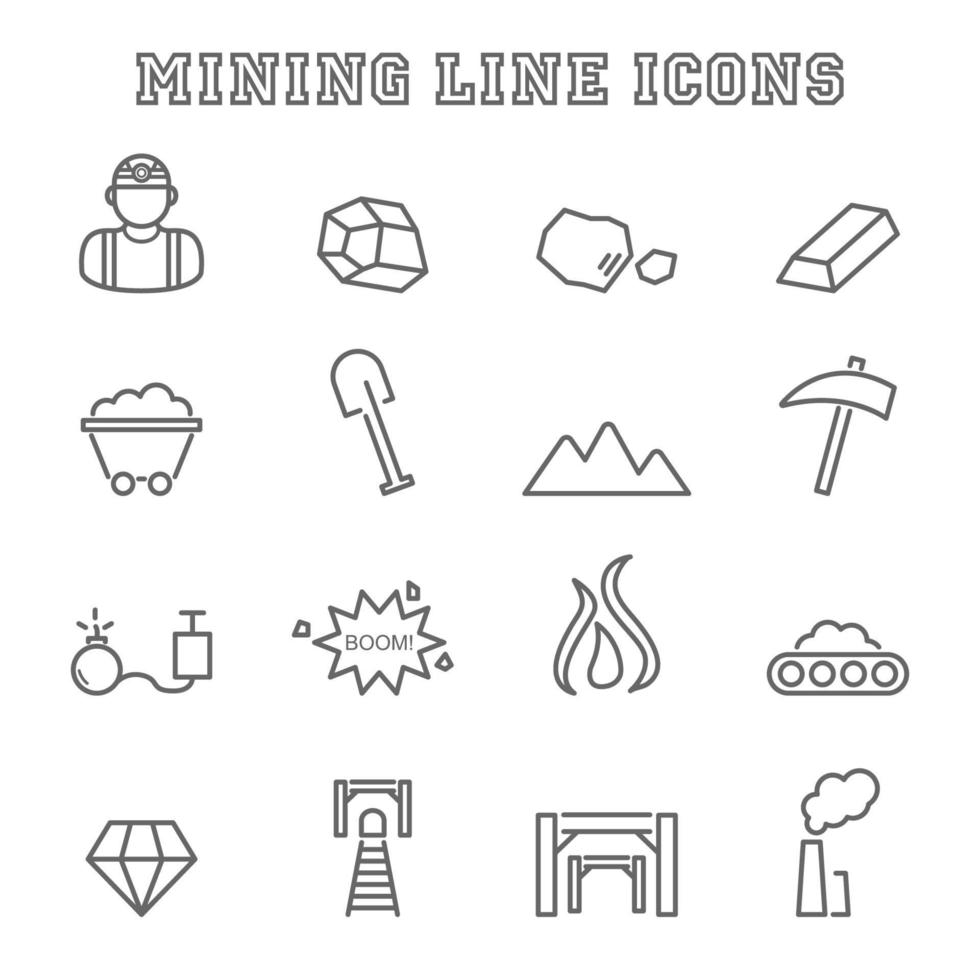 gruvlinje ikoner vektor