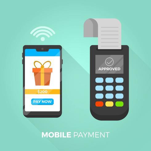 Flache Bezahlung mit Telefon in der modernen Hintergrund-Vektor-Illustration vektor