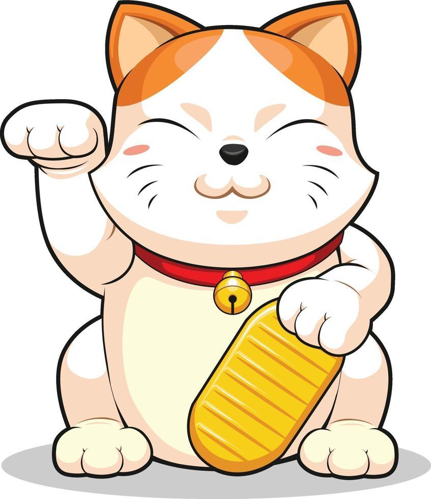 lycklig katt makeni neko förmögenhet som lockar pengar tecknad maskotvektor vektor