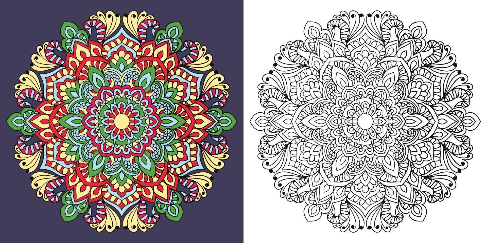 Doodle Mandala Malbuch Seite für Erwachsene und Kinder. weiß und schwarz rund dekorativ. orientalische Anti-Stress-Therapiemuster. abstraktes Zen-Gewirr. Yoga Meditation Vektor-Illustration. vektor