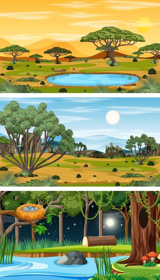 olika typer av skogens horisontella scener vektor