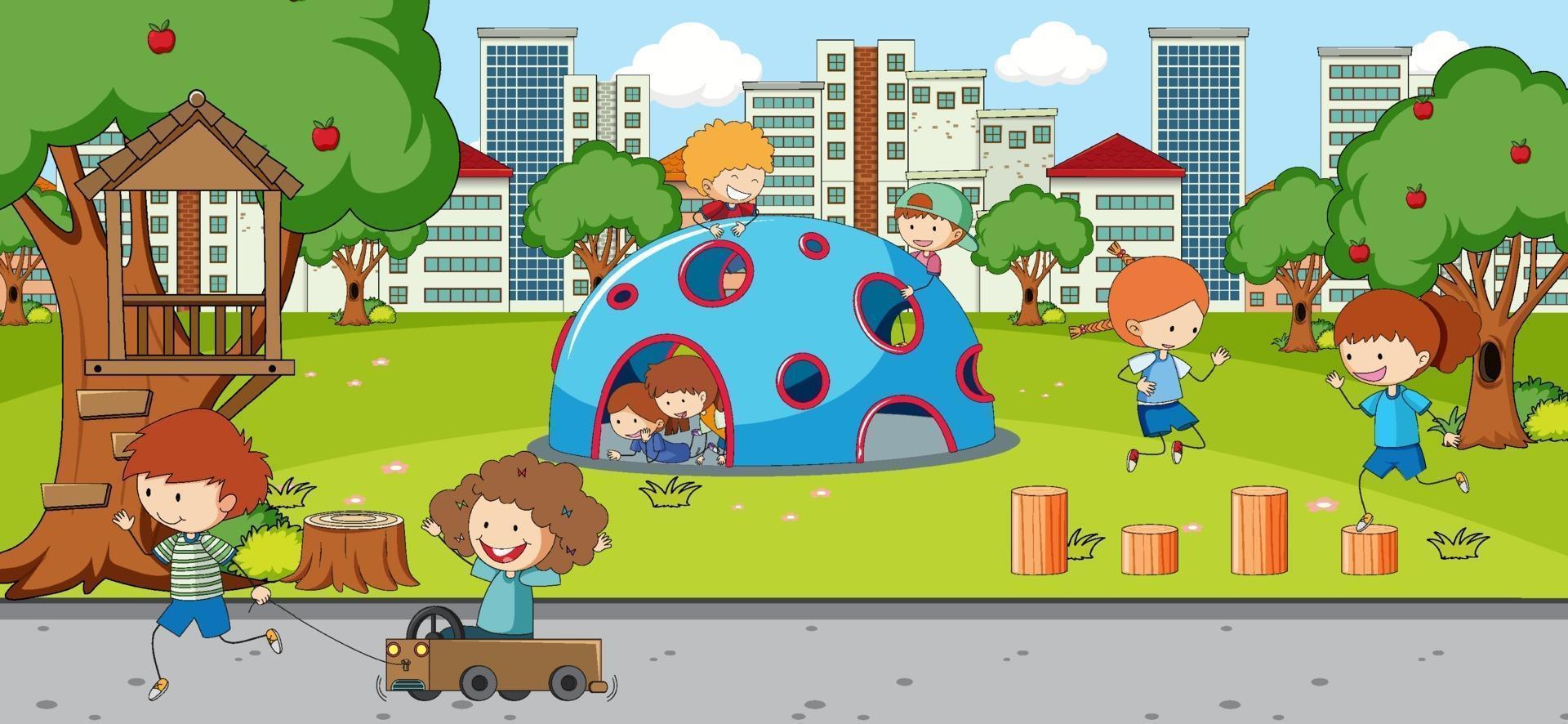 utomhusplats med många barn som leker i parken vektor