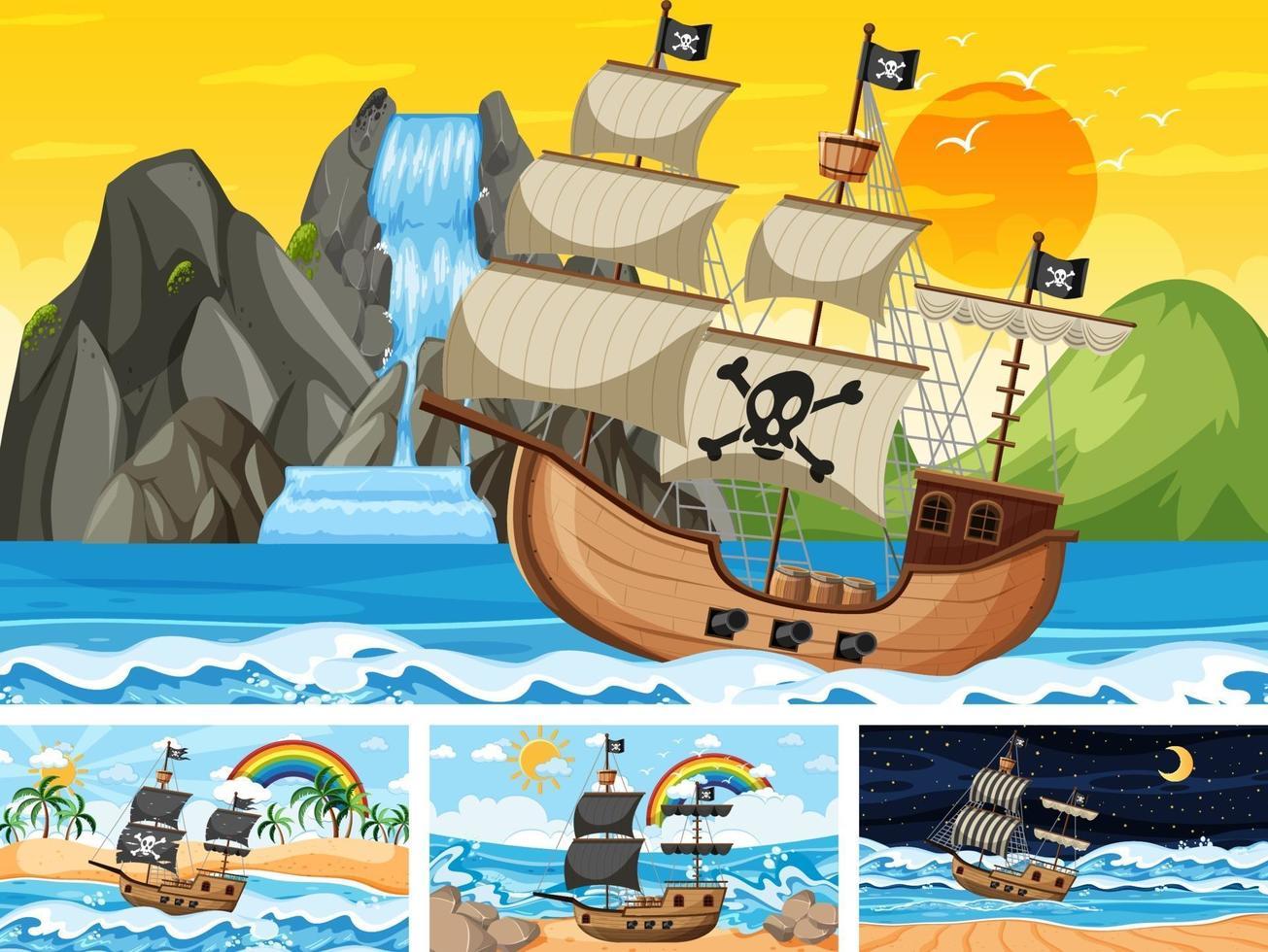 uppsättning hav med piratskepp vid olika tidpunkter scener i tecknad stil vektor