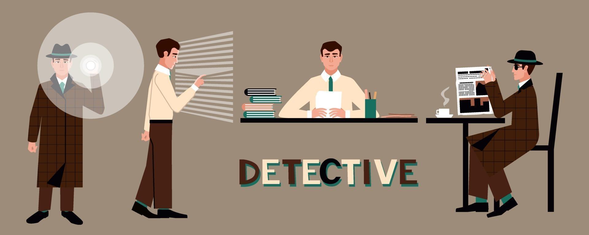 en uppsättning av en detektiv i en hatt med en ficklampa, vid ett bord, vid fönstret, på ett kafé. vektor