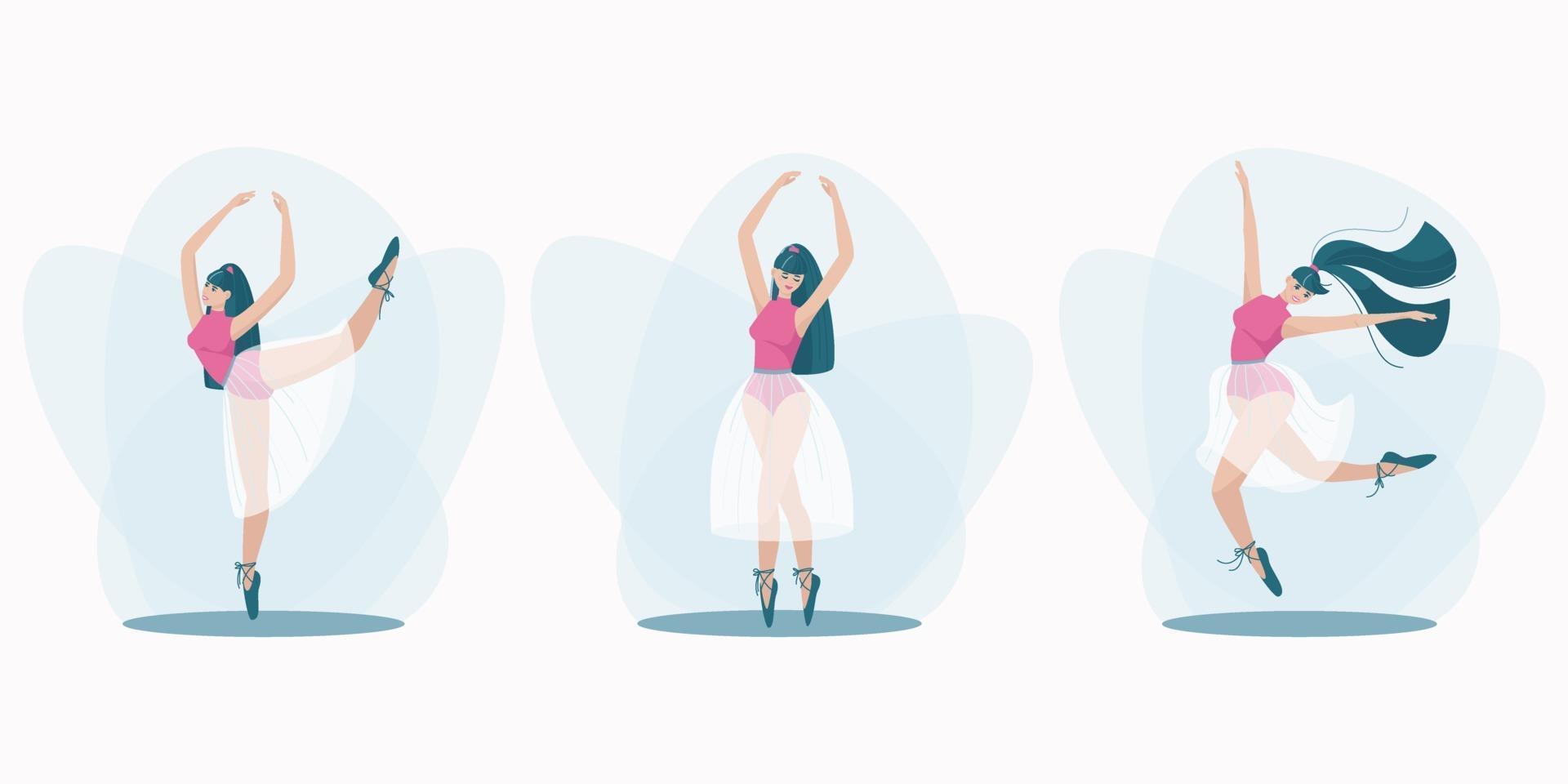 uppsättning vackra poser av en dansande tjej vektor