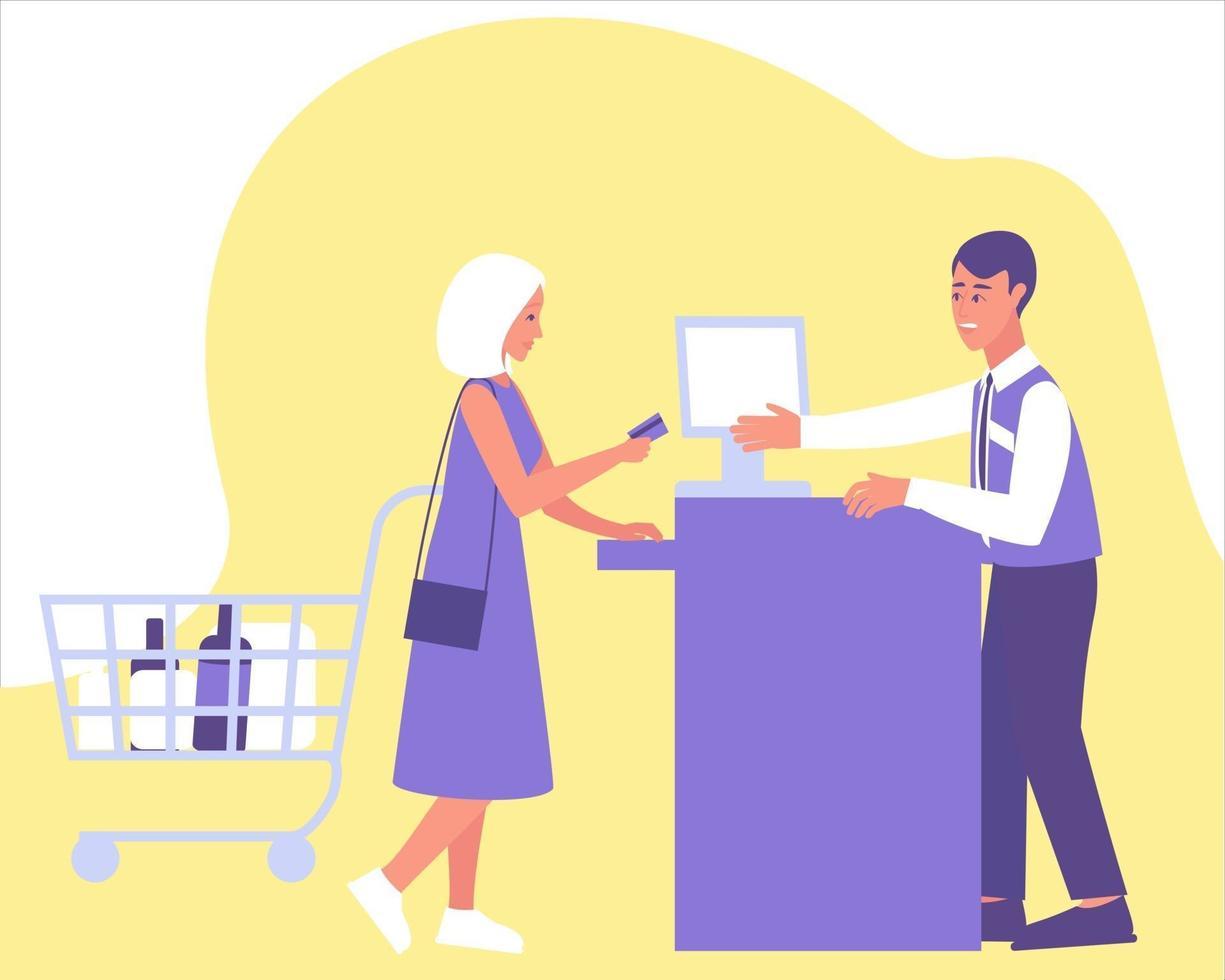 kvinna betalar ett köp med ett kort i kassan vektor