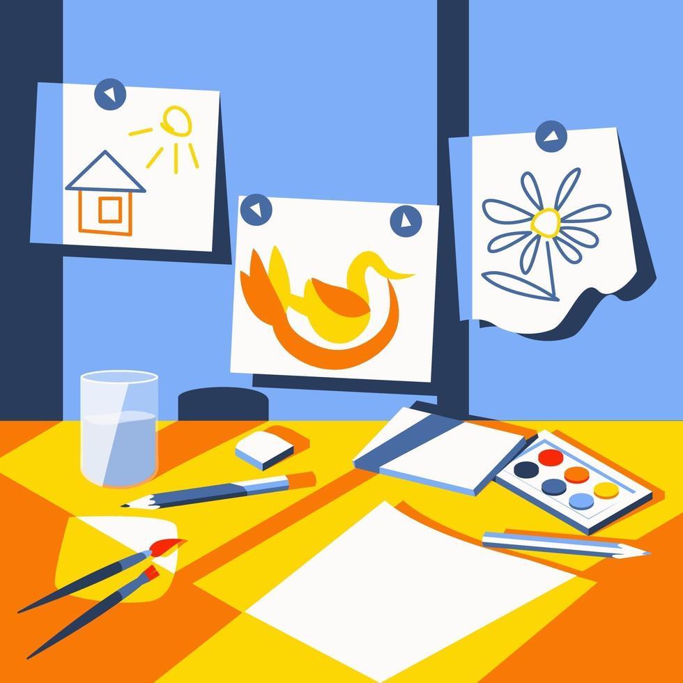 ljuset från fönstret faller på den lilla konstnärens söta arbetsplats vektor