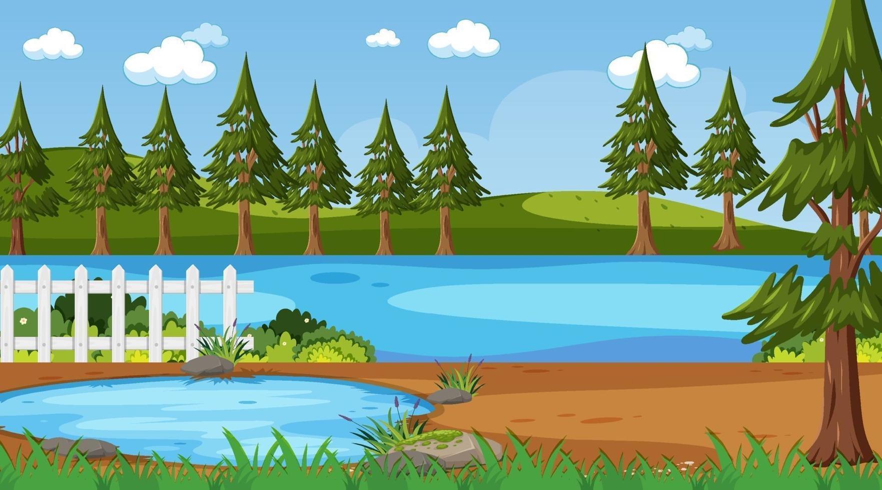 tom natur park landskap scen med floden vektor
