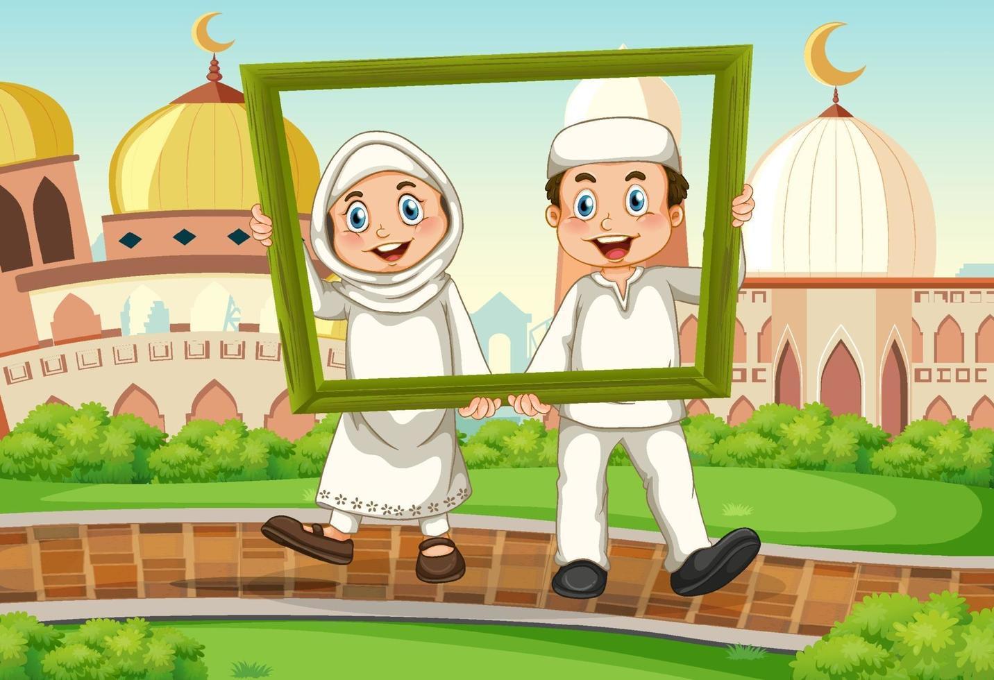 muslimska par med fotoram på moskébakgrund vektor