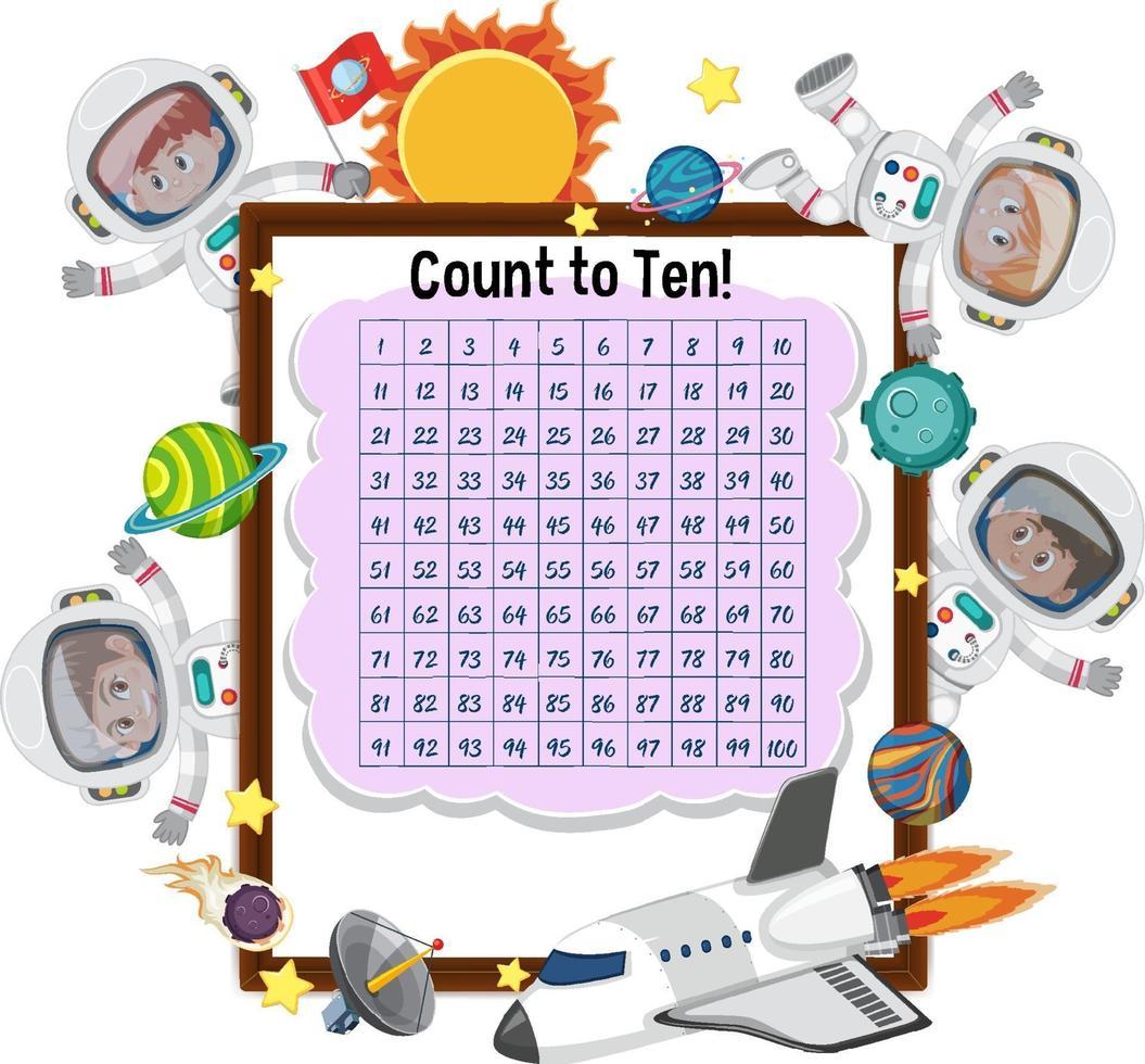 räknar nummer 1-100 bräda med många barn i astronautdräkt vektor