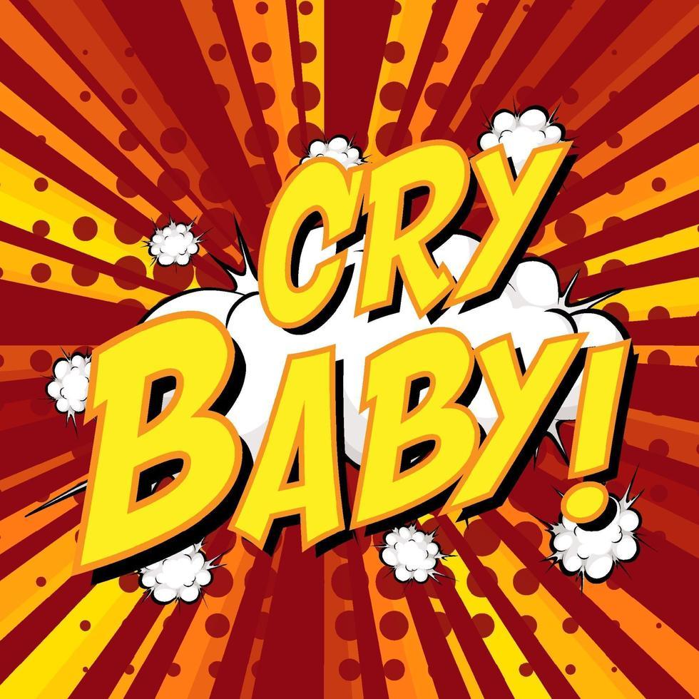 gråta baby formulering komisk pratbubbla på burst vektor
