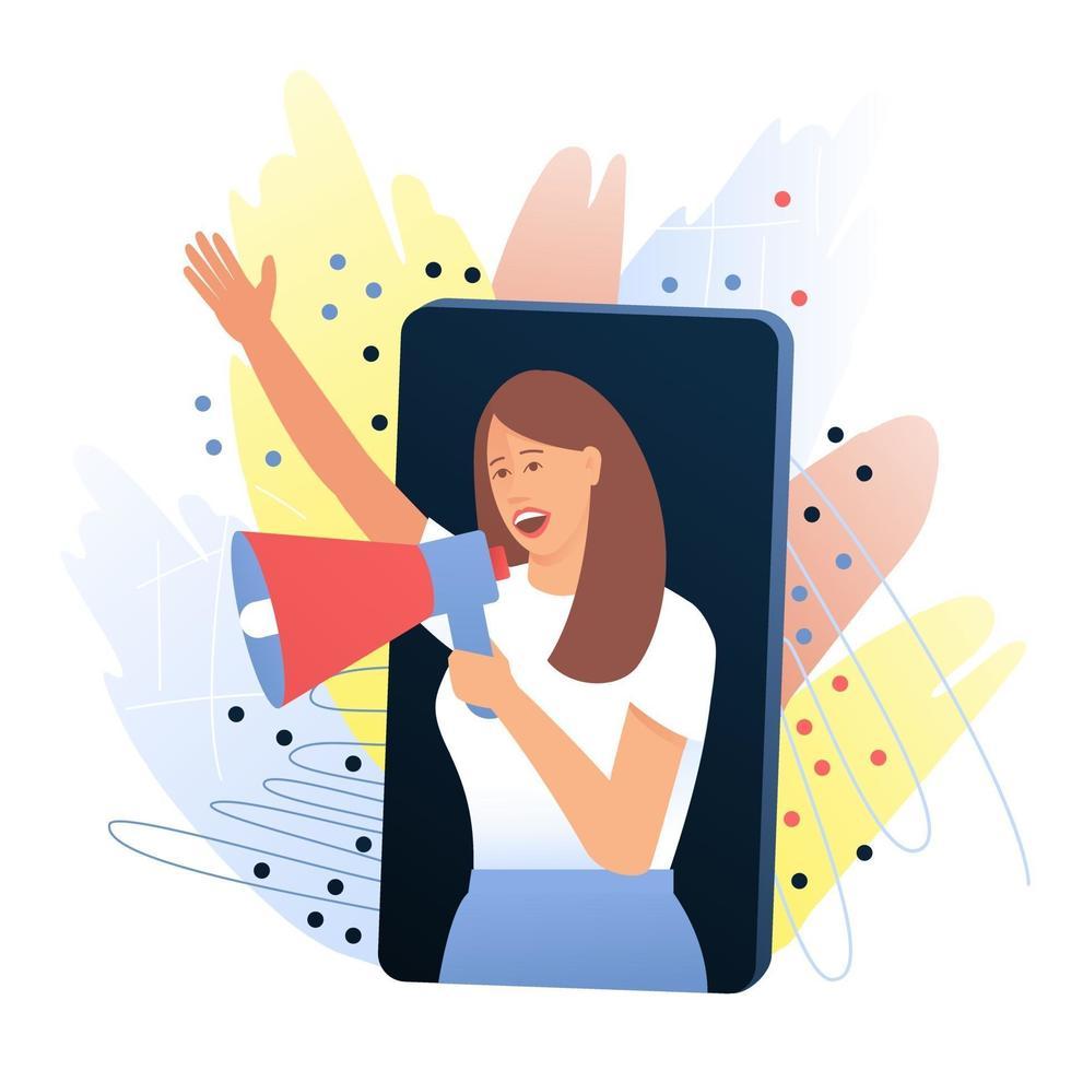 kvinna, opinionsledare talar från en smartphone via en megafon om en produkt som hon gillar vektor