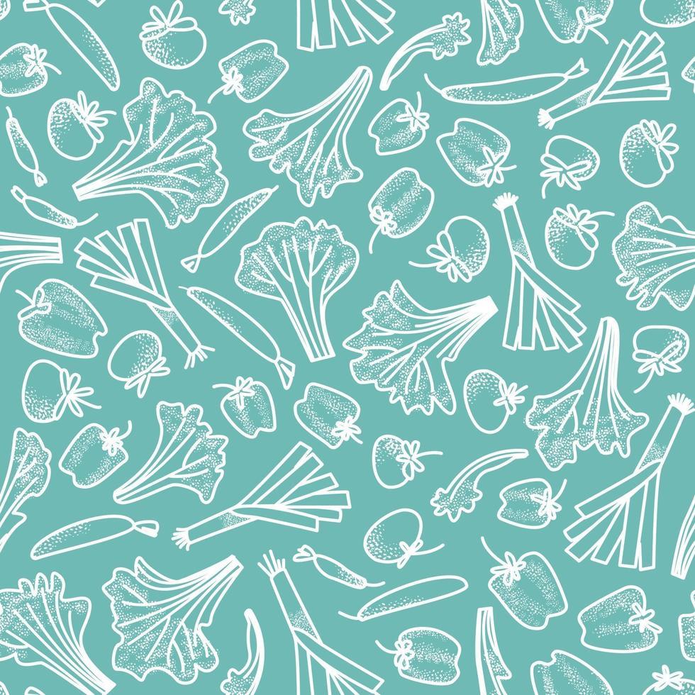 sömlösa mönster av grönsaker ritade av en vit linje på en akvamarin bakgrund vektor