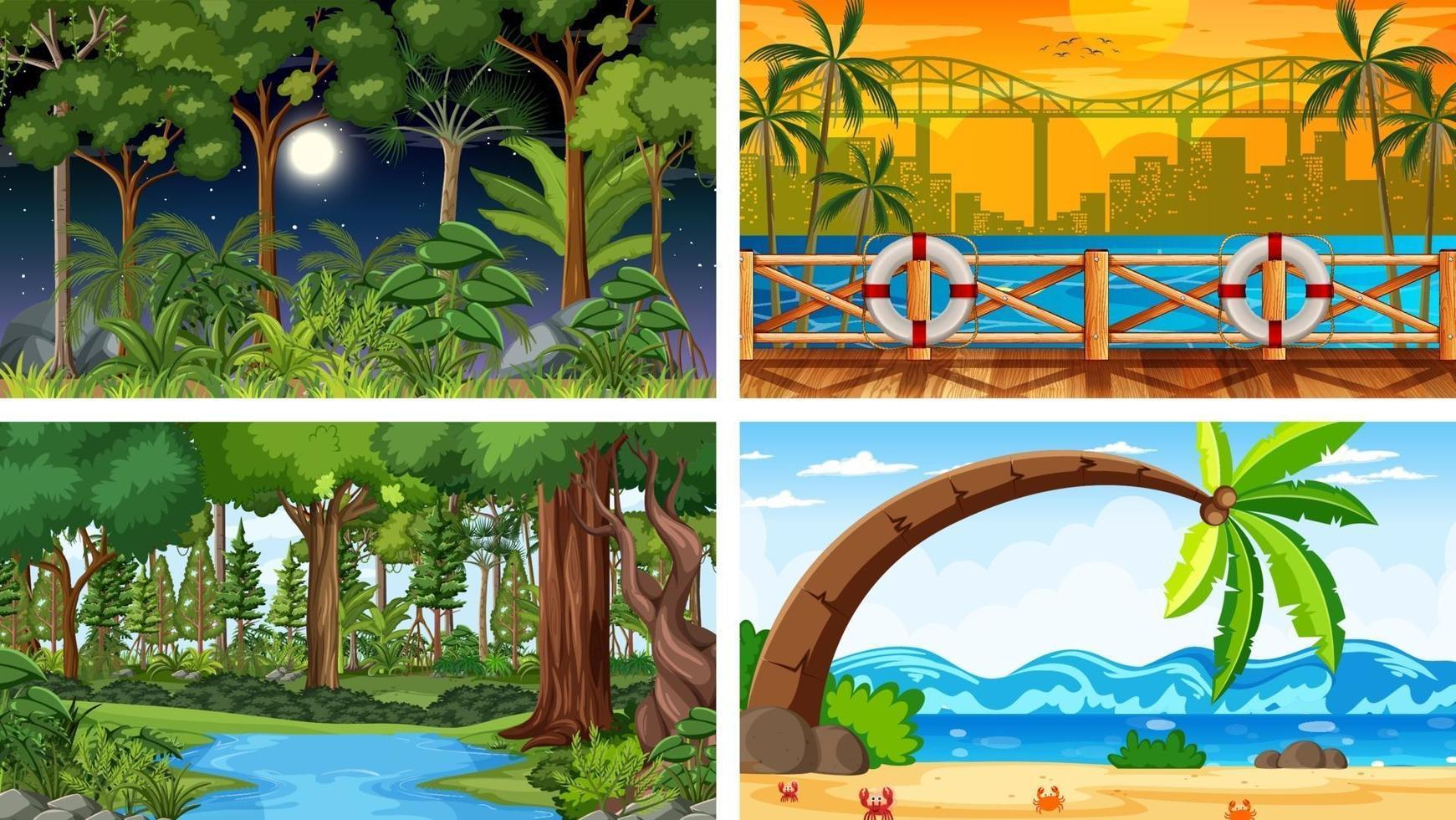 fyra olika natur horisontella scener vektor