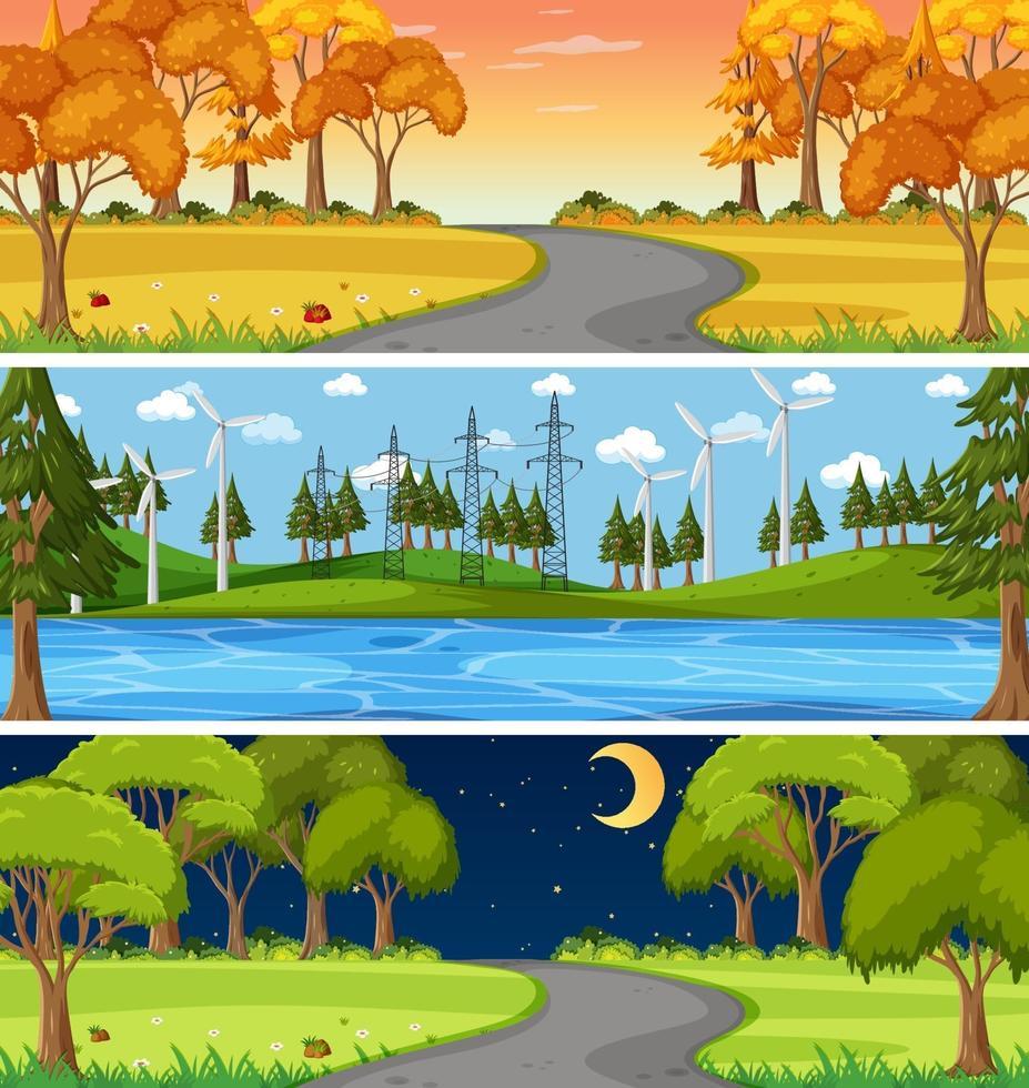 uppsättning av olika natur horisontella scener vektor
