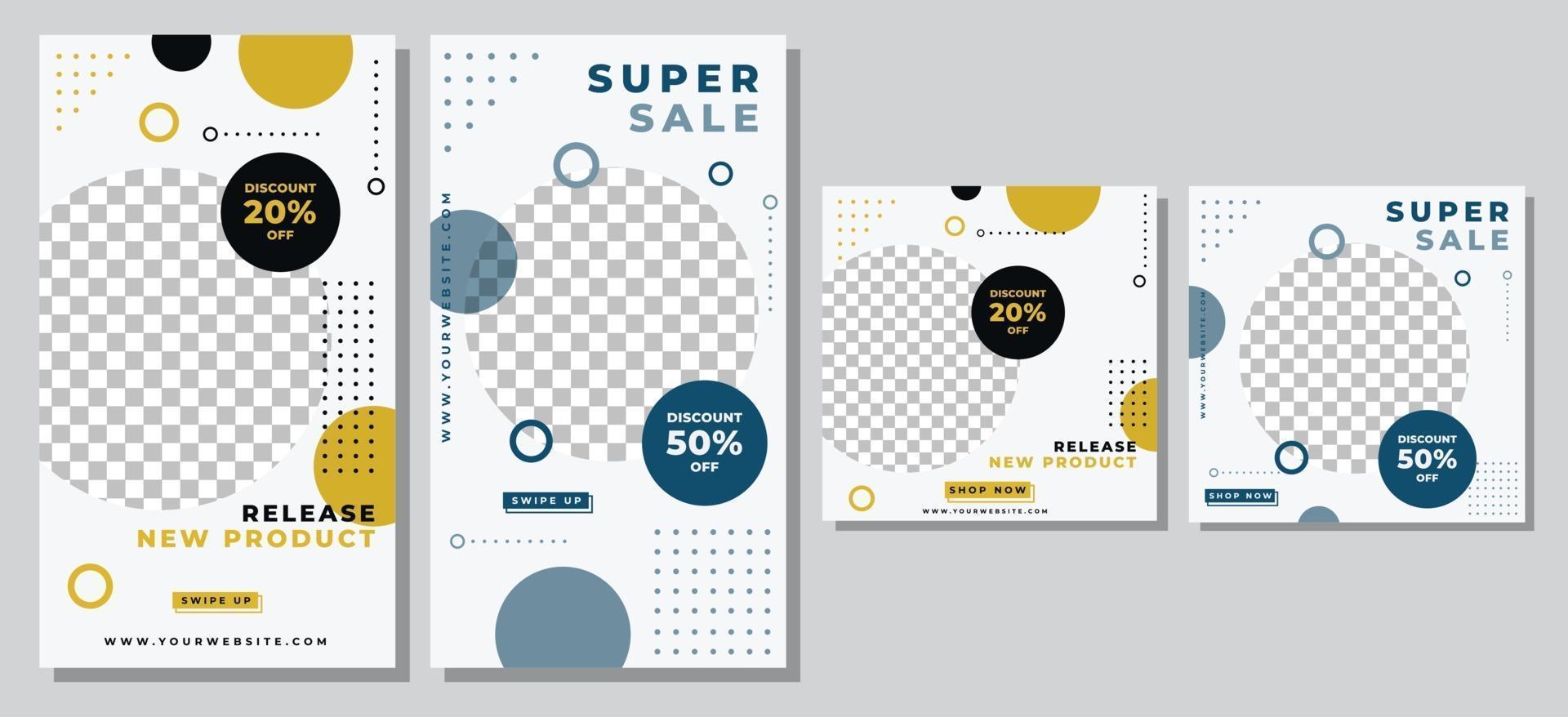 mode försäljning sociala medier postmall vektor