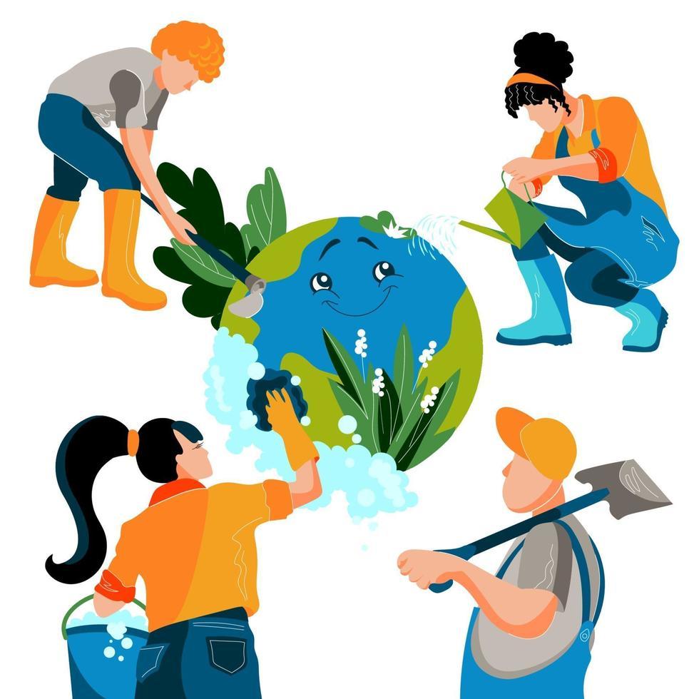 grupp människor tar hand om ekologi och räddning planet. flickor och män rengör för jorden och skyddar naturen. platt vektorillustration vektor