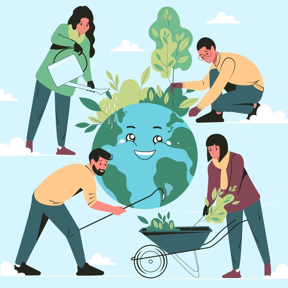 människor tar hand om planeten jorden. ekologikoncept, spara energi och miljöskydd. platt vektorillustration vektor