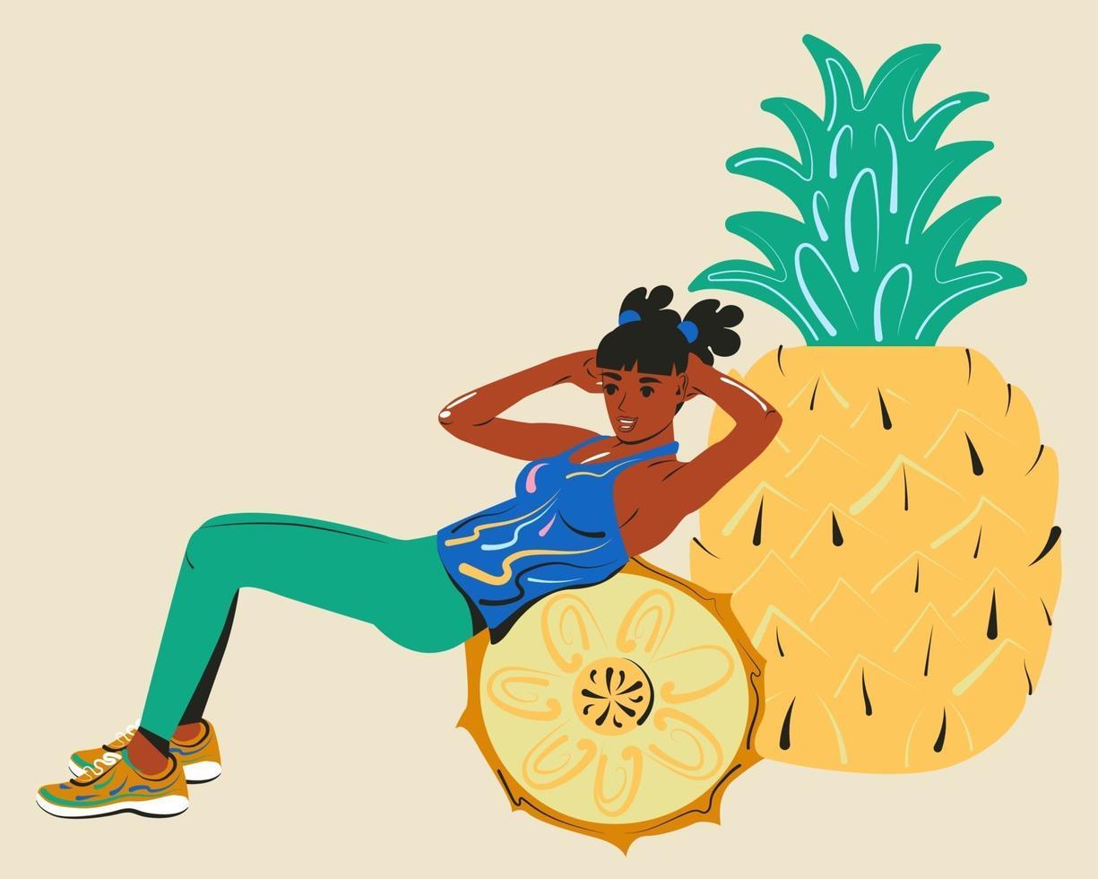 fettförbränning. flickan gör sitta upp. sport och bantning mat. tecknad vektorillustration vektor