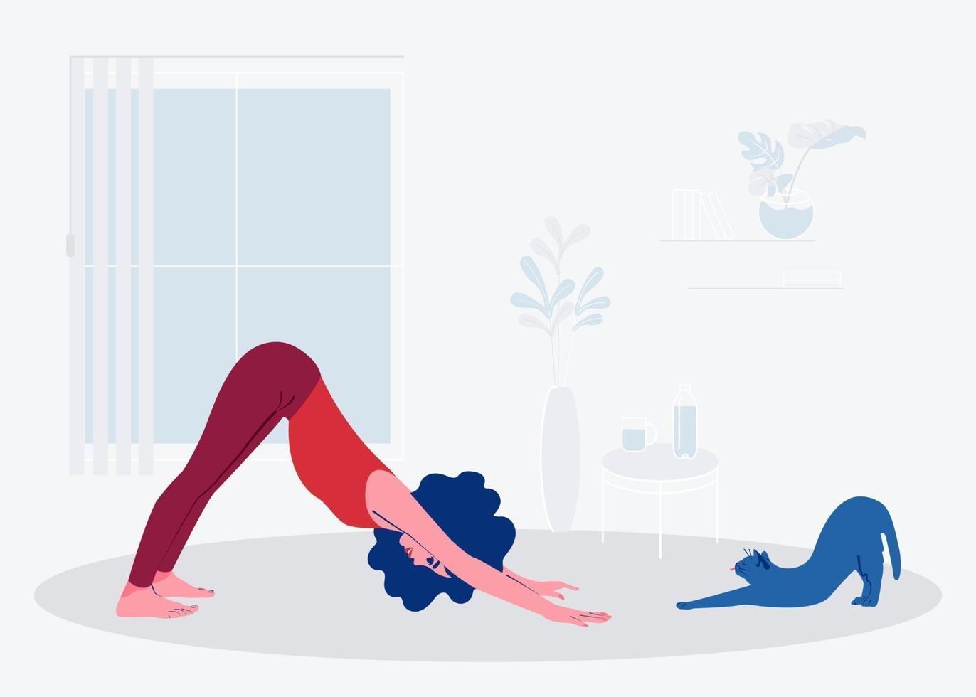 flickan gör yoga hemma med sin katt. platt vektorillustration vektor