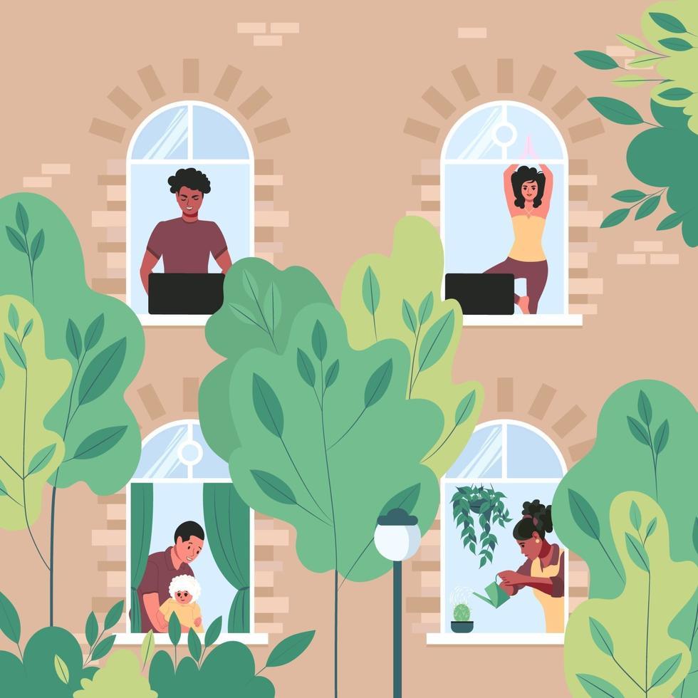 människor arbetar, gör sina dagliga aktiviteter, gör yoga i fönstren i en byggnad med flera våningar. grannar i deras lägenhet. våren utanför fönstret. platt vektorillustration vektor