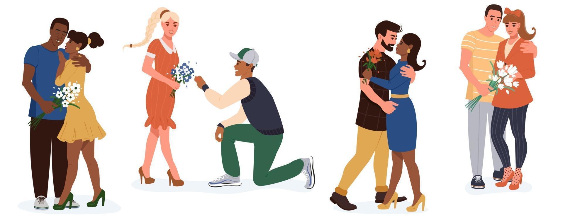 uppsättning unga glada romantiska par. mångfald och social samhörighetsidé. par män och kvinnor på datum. platt vektor isolerad på vit bakgrund